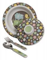 Baby Geschirr-Set Melamin-Schale mit Deckel und Besteck Numbers von Sugar Booger