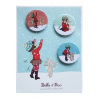 Catching Snow  Badge Set Button