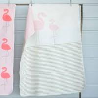 David Fussenegger Baby- und Kinderdecke Juwel Flamingo-Streifen, circa 70 x 90 cm