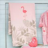 David Fussenegger Decke Juwel Flamingo, circa 140 x 120 cm