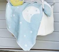 David Fussenegger Juwel Babydecke mit Kapuze und Mond blau