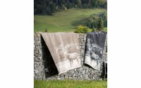 David Fussenegger Montana Plaid Hirsch fotorealistisch anthrazit 150x200cm