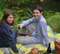 David Fussenegger Picknickdecke Sylt Baumwolldecke beschichtet türkis gelb Decke 130x180cm