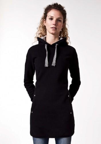 Fair trade Hoodie Kleid TAINA schwarz von recolution