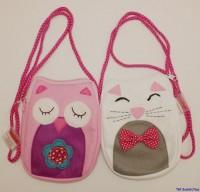Filz- Tasche mit Eulen- und Katzenmotiv