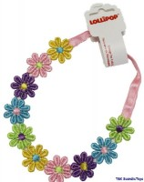 Haarband- Stirnband mit bunten Blumen von Lollipop