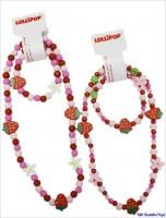 Halskette und Armband mit Erdbeeren und Blumen von Lollipop