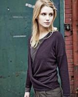 Hempage Damen Pullover Kirsten mit Wickeloptik aus Hanf und Bio-Baumwolle