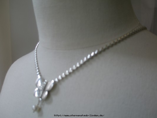 Huiltquist silberne Herzchen mit Schmetterlinge und Perle