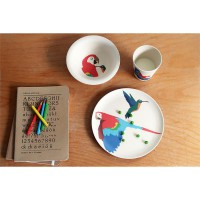 Hungry Kids Set  HUNGRY PARROT set/3 Cup, plate, bowl,Parrot