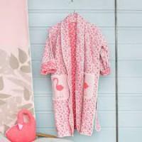 Kinder Kimono Bademantel Flamingo aus Baumwollfleece
