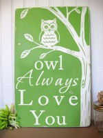 Muslin Swaddle Mulltuch - Owl Always Love You - Green