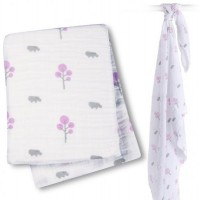 Muslin Swaddle Mulltuch - Pink Hippo