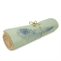 Peacock Feather Yoga Rug Mat Jade von Holistic Silk