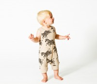 Sleeveless body suit with short legs and zebras