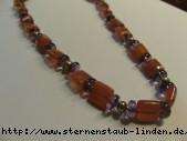 Steinkette aus Feuerachat carree, Amethyst Ronden,Perle gruen mit Silberhakenschliesse