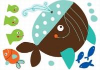 Wand Sticker Mini von Carolyn Gavin mit den Motiv Wal