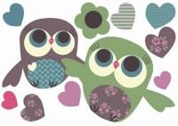 Wand Sticker Mini von Jillian Phillips mit Eulen-Paar