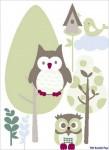 Wandsticker  Eulen im Wald