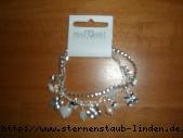 bracelet silver mit Blumen & Marienkaefer