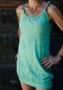 langes Shirt-Kleid in Kaktus gruen Voegel, Libellen im Blumenmeer erholen sich im Garten Eden